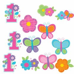 Butterfly First Birthday Cutouts Pack