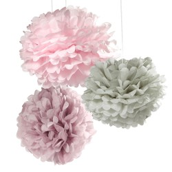 Pink and Grey Pom Poms Mixed Sizes