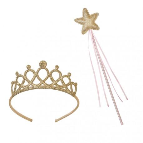 Set Bacchetta e Corona Principessa Rosa e Oro