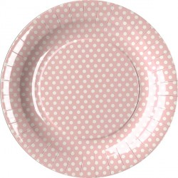 Light Pink Dots Paper Dessert Plates