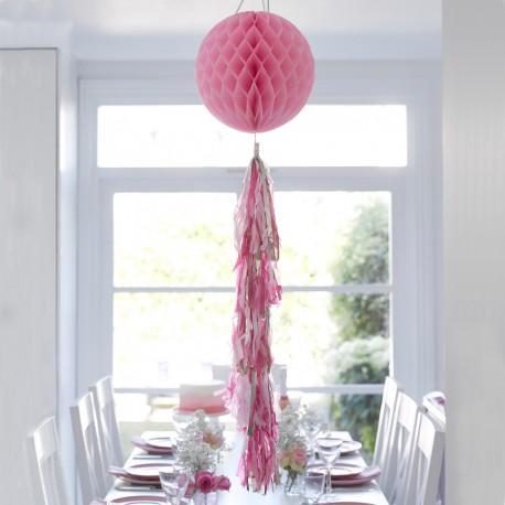 Pink Honeycomb Tasseled Decoration