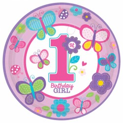 Butterfly First Birthday Plates