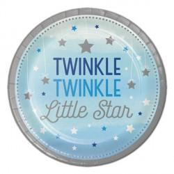 Piattini in carta Stelline Azzurro - Twinkle Twinkle Little Star