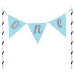 Cake Topper Primo Compleanno Azzurro