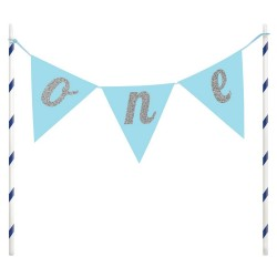 Blue One Cake Topper Banner