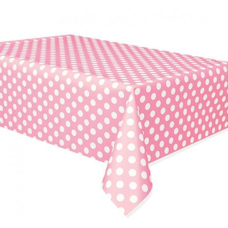 Tovaglia Plastica Rosa A Pois Bianco