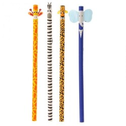 Set matite decorate per bambini tema Animali Giungla