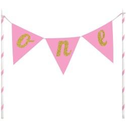 Cake Topper Primo Compleanno Rosa