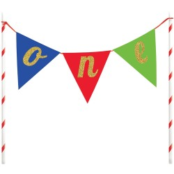 Multicolored One Cake Topper Banner