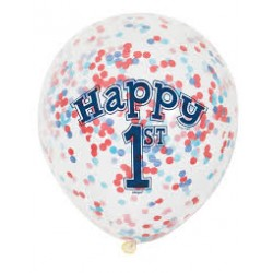 First Birthday Blue and Red Confetti Balloons