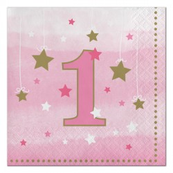 Little Star Girl First Birthday Napkins