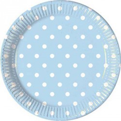 Light Blue Dots Paper Dessert Plates
