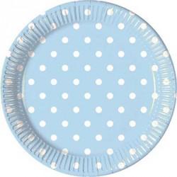 Piattini Carta Azzurro a Pois Bianco