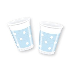 Bicchieri in plastica azzurri a pois bianco