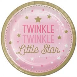 Piattini Stelline Rosa - Twinkle Twinkle Little Star