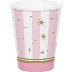 Twinkle Toes Striped Pink with Stars Cups
