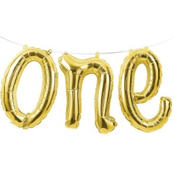 One Gold Foil Banner Balloon
