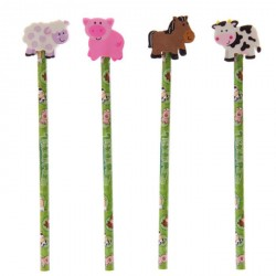 Set Pencil with rubber Farm Animals 4pc