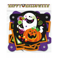 Happy Halloween Jointed Banner ghost and pumpkin