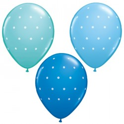 Assorted Dark, Pale and Caribbean Blue Dots Latex Balloons