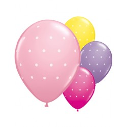 Assorted light and bright pink, lavender and yelloy small dots latex ballons