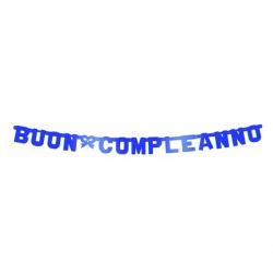 Festone Buon Compleanno Blu Metallizzato
