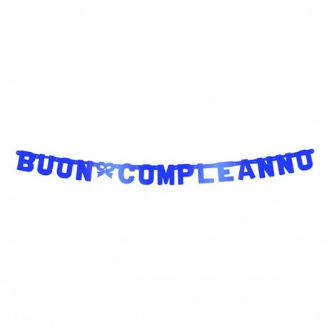 Buon Compleanno Blue Metal Banner