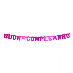 Buon Compleanno bright Pink Metal Banner