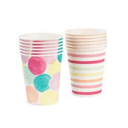Multicolored dots and stripes cups