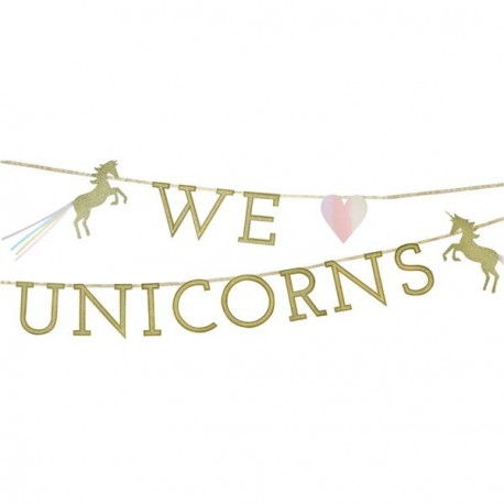 """We Love Unicorn"" Garland for Unicorns party themed"