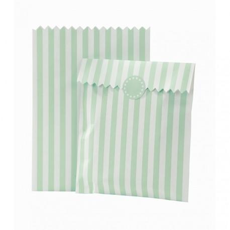 Striped Mint Treat Bags