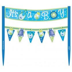 Decorazione Torta Baby Shower Vestitini Azzurri