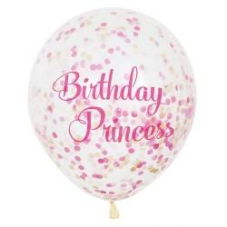 Palloncini con coriandoli Birthday Princess