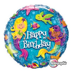 Mermaids Holographic Foil Balloon