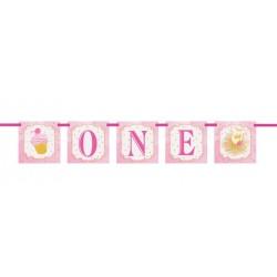 """Festone Pink and Gold """"One"""" per Festa Primo Compleanno Bimba"""