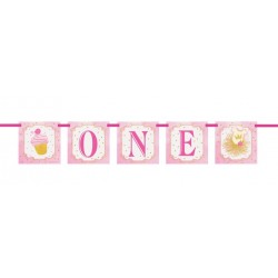 "Pink and Gold ""One"" Banner"
