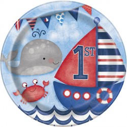 Nautical 1st Birthday Plates
