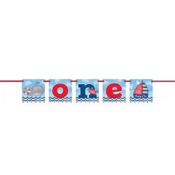 """Festone """"One"""" per Festa Primo Compleanno Bimbo tema Mare"""