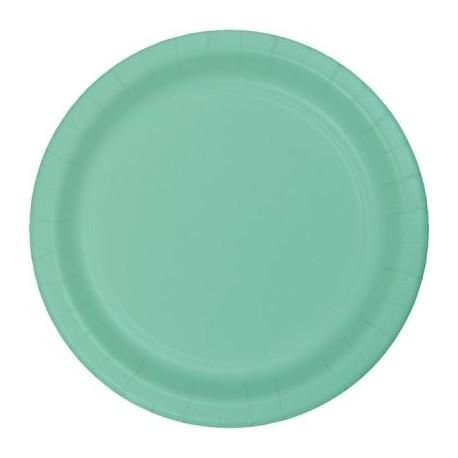 mint green paper dinner plates