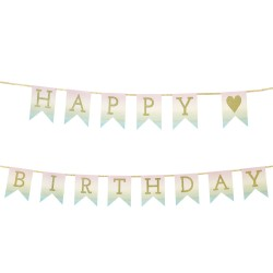 Pastel Happy Birthday Flags Banner