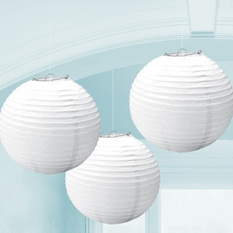 Lanterne Rotonde Bianco 3pz