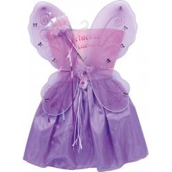 Costume Fatina Viola con ali e bacchetta magica