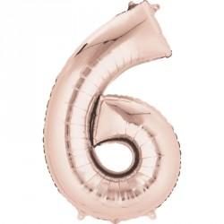 Palloncino foil gigante numero 6 Oro Rosa
