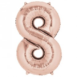 Number 8 Rose Gold SuperShape Foil Balloon
