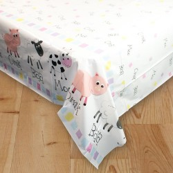Pastel Farm Plastic Tablecover
