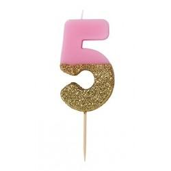 Candelina Glitter Oro 5 Anni