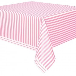 Light Pink Stripe Plastic Tablecover