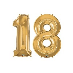 18 Gold SuperShape Foil Balloons Set