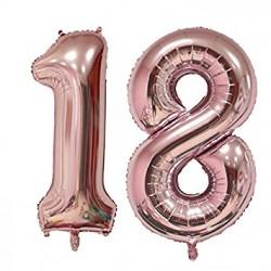 Set Palloncini 18 anni foil Oro Rosa