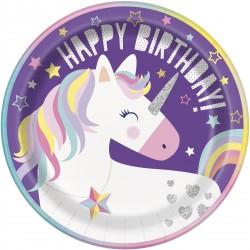 Piatti Unicorn Rainbow per festa compleanno tema Unicorno